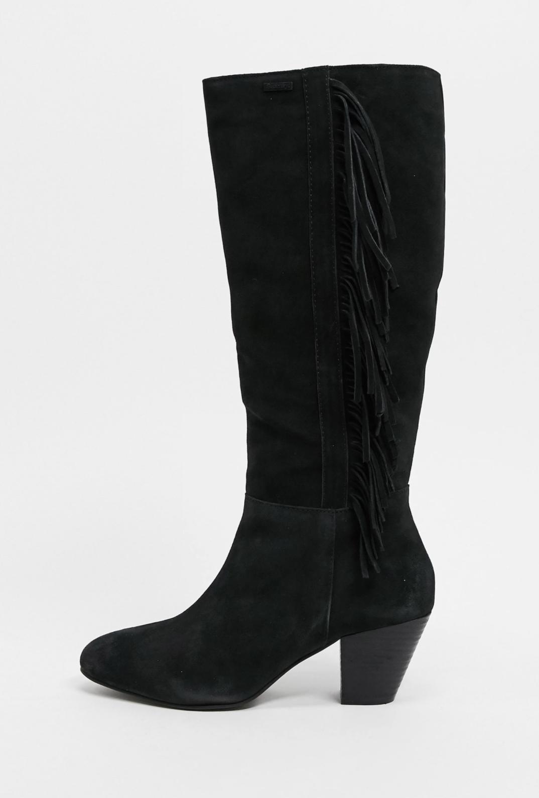 Botas altas de ante negro con borlas memephis de Superdry