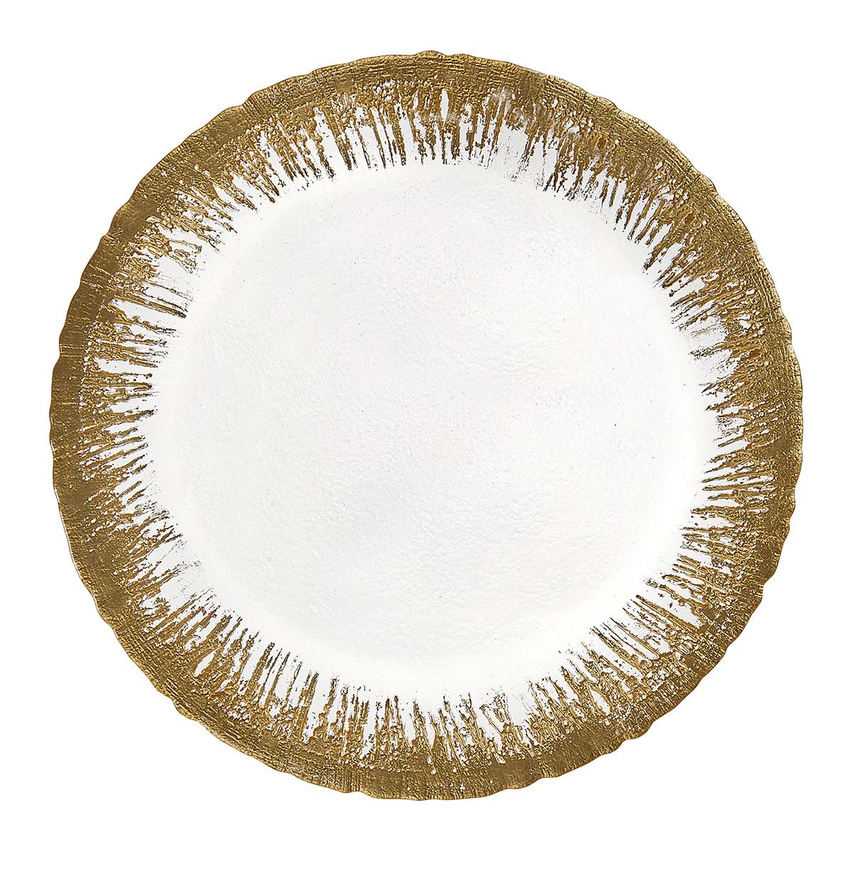 Bajo plato de vidrio con plato dorado