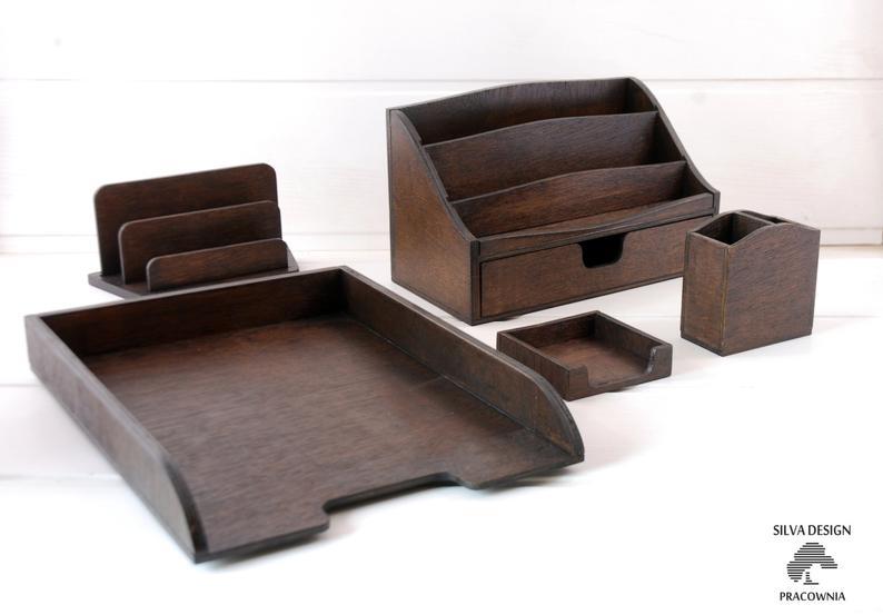 Juego organizador de escritorio de madera de cinco piezas