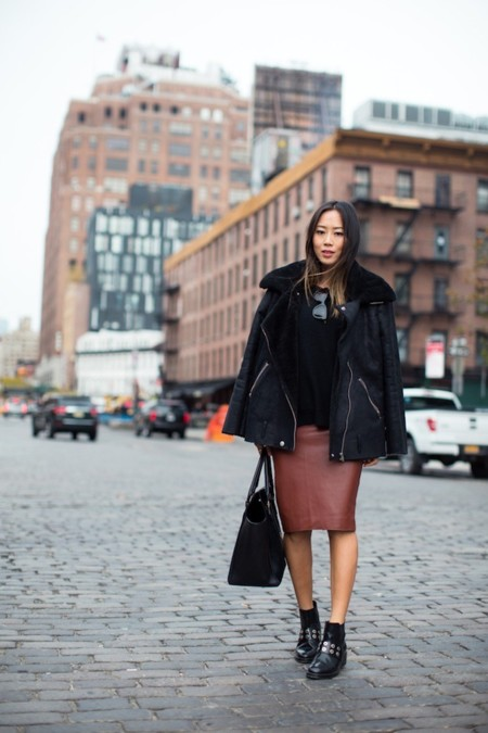 Aimee Song Shearling Leather Jacket Pencil Skirt Black Sandro Boots1