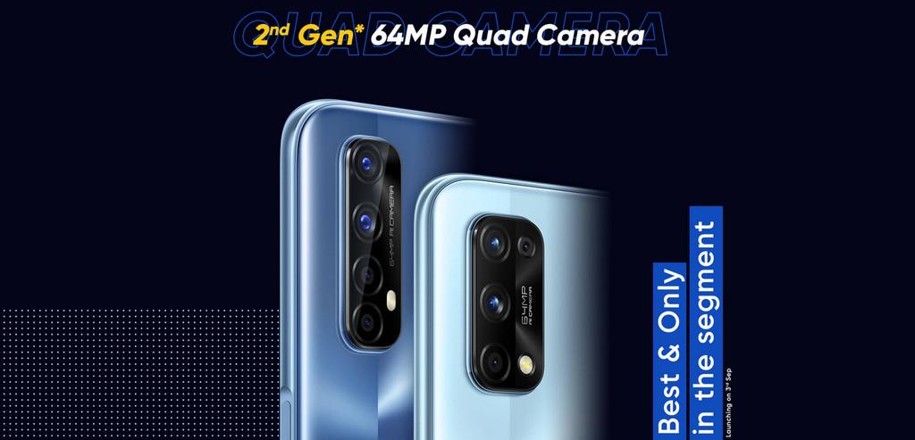 Los Realme 7 y 7 Pro dispondrán de alcoba anterior cuádruple con sensor principal Sony® de 64 megapíxeles