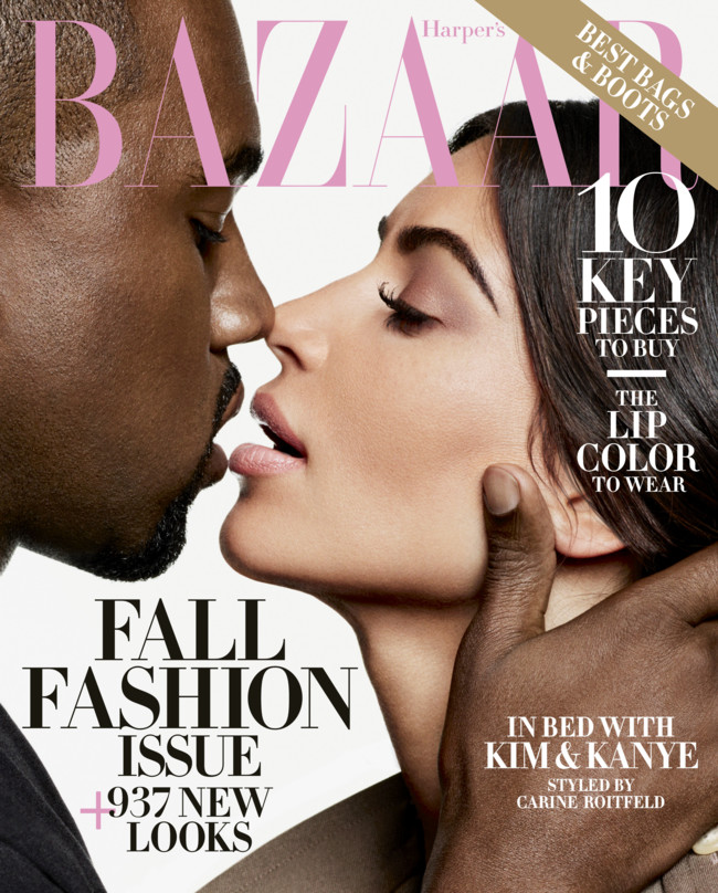 Us Harper S Bazaar September 2016 Kim Kardashian Kanye West By Karl Lagerfeld