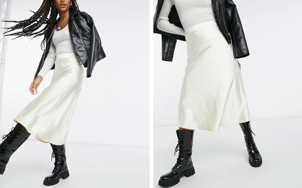 Falda satinada en tono marfil