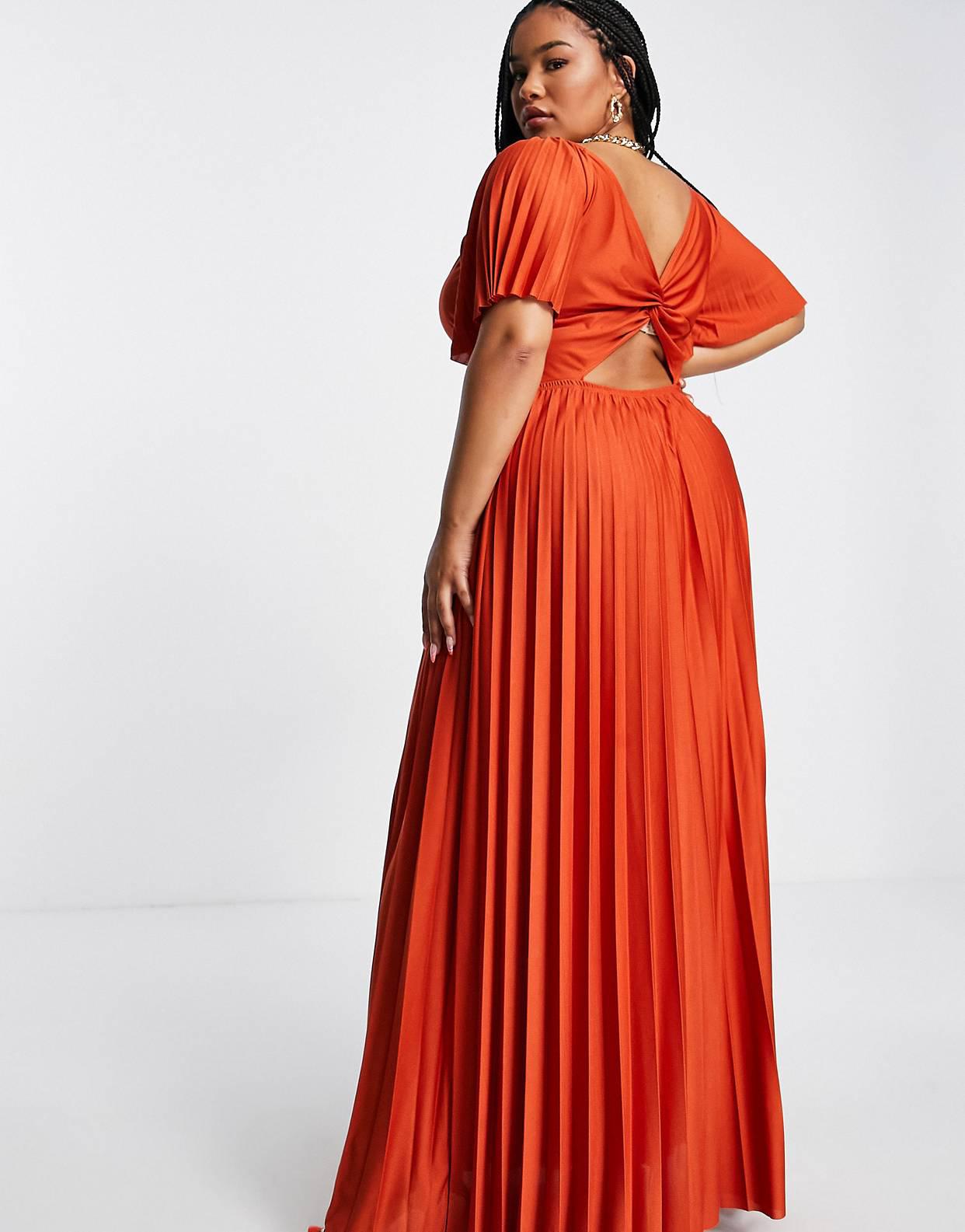 Vestido largo color óxido plisado con mangas de casquillo y detalle retorcido en la espalda de ASOS DESIGN Curve
