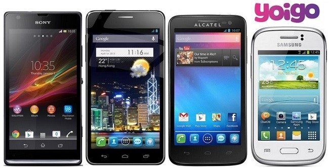 Prices Sony Xperia SP, Alcatel Idol Ultra, X'Pop and Samsung Galaxy Young with Yoigo
