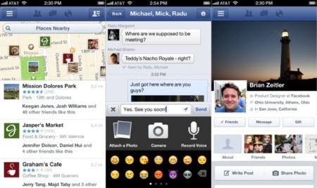 Facebook actualiza su aplicación para iOS con grabación de vídeo, llamadas VoIP y lugares favoritos