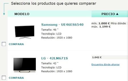 La OCU nos ofrece un comparador de televisores en su web para ayudarnos a realizar la mejor compra