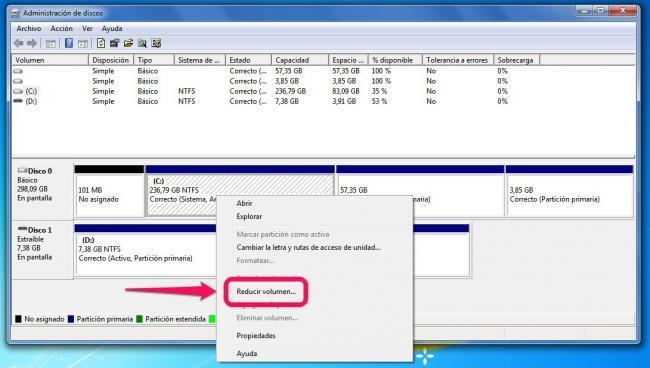 Reducir volumen desde el administrador de discos de Windows