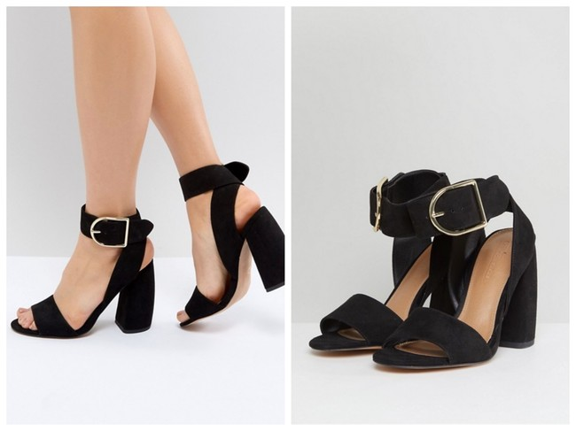 Detalles de Zara Trafaluc Negro Grueso Bloque Talón Sandalias de plataforma Blogger 8 41! ver título original