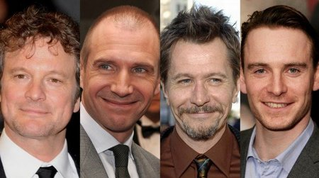 Colin Firth, Ralph Fiennes, Gary Oldman y Michael Fassbender en 'Tinker, Tailor, Soldier, Spy'