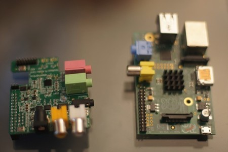 Comparando el tamaño de la tarjeta de sonido Wolfson y de la Raspberry Pi