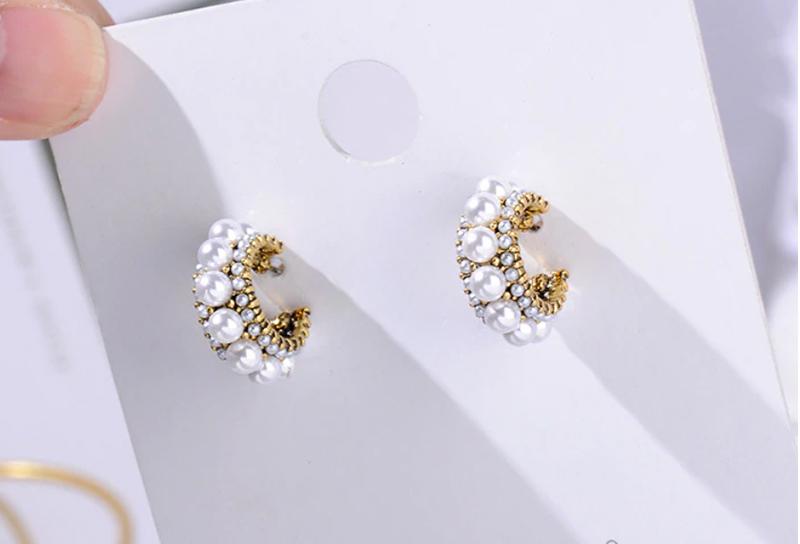 MENGJIQIAO 2019 nuevos Pendientes de aro pequeños de diamantes de imitación coloridos de la vendimia de la venta caliente de la perla simulada de la manera de las mujeres