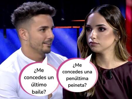 """¡MOMENTAZO! Manuel intenta sacar a bailar a Lucía durante la actuación de Omar Montes y Ana Mena en 'El Debate de las Tentaciones': Esta ha sido su reacción """"flamenca"""""""