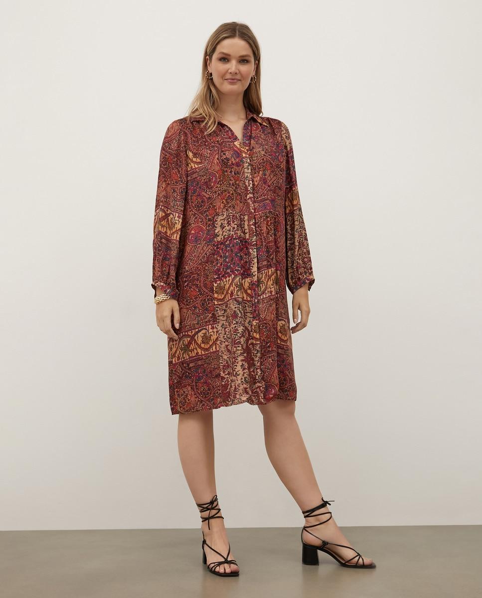 Vestido midi estampado patchwork