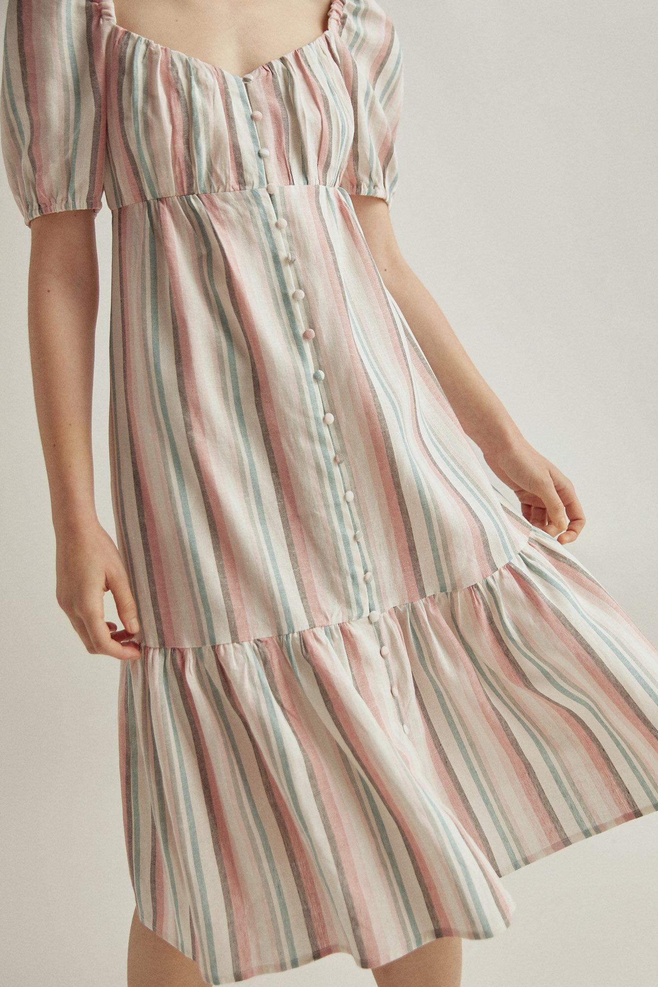 Vestido de lino rayas multicolor