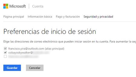 Ahora podemos elegir con cuáles alias se puede iniciar sesión en nuestra cuenta Microsoft