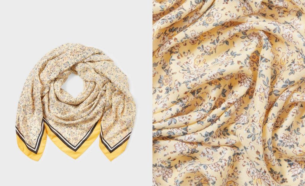 Pañuelo de estampado floral en tonos amarillos