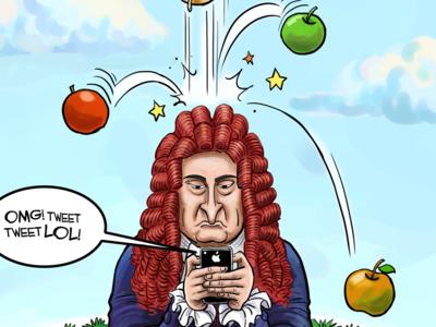 La (famosísima, pero imaginaria) manzana de Newton