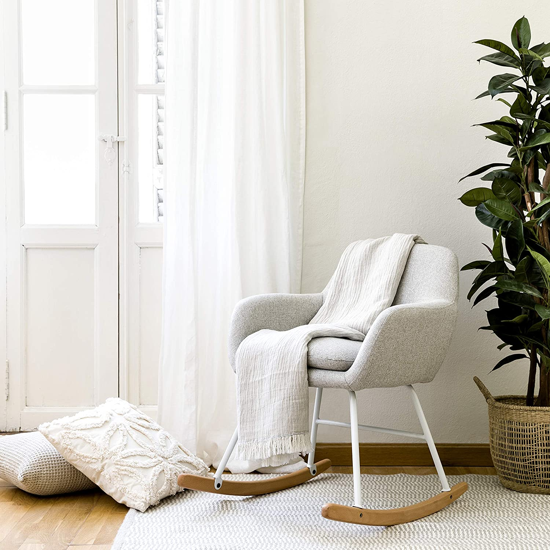Kenay Home-Sillón Butaca Pull Balancin Tapizado Gris Pata Blanca