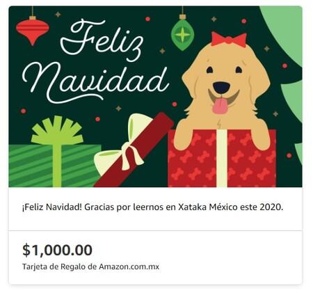 Tarjeta navideña de Amazon México para regalar