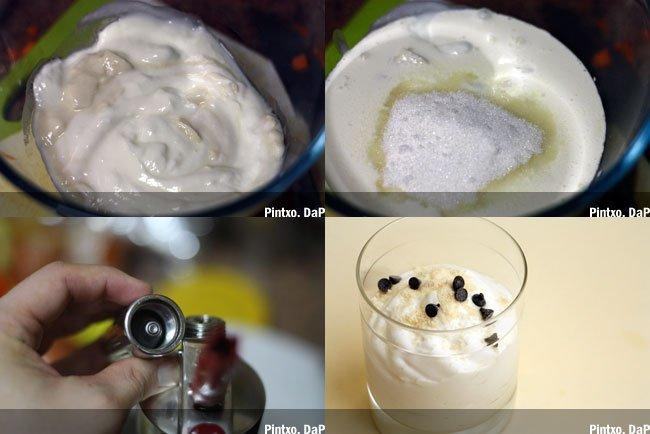 Espuma de yogur. Pasos