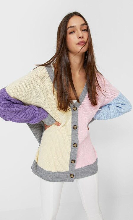 Stradivarius Cardigan Color Block