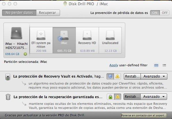 Disk Drill, pantalla con la información de unidades y particiones