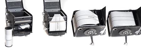 Pasos para cargar la película en una Rolleiflex
