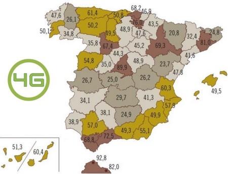 El 4G ya supera el 60% de la población y el 3G el 97%. Así quedan los mapas de cobertura