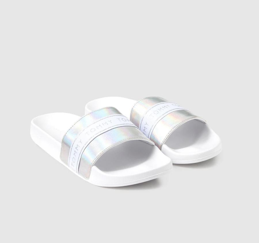 Chanclas de mujer tommy Hilfiger de color plata con detalle lurex
