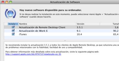 iTunes 10.4, iWork 9.1 y Safari 5.1, acompañando a OS X Lion