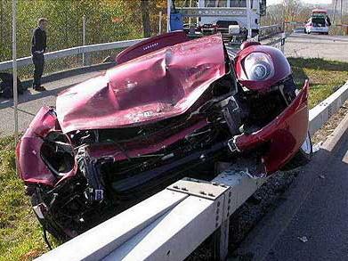 El Ferrari 599 GTB destrozado del jefe de Fiat, Sergio Marchionne