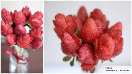 ramo de rosas hecho de fresas