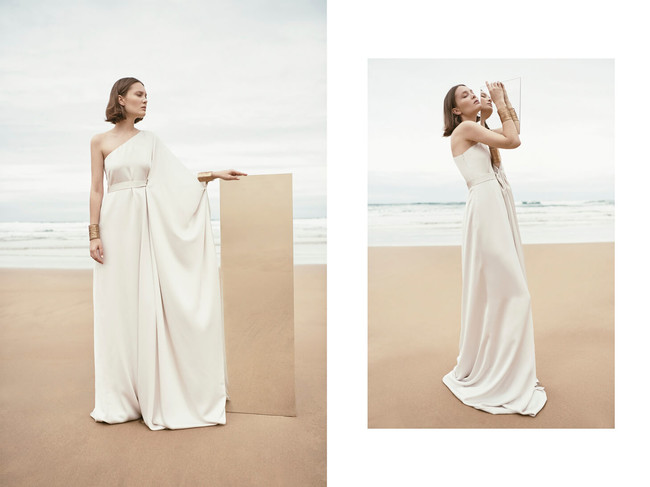 Monica Cordera Bridal Novia 2018 Vestido Blanco Asimetrico