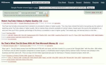 RSSmeme, el tercer memetracker basado en los elementos compartidos de Google Reader