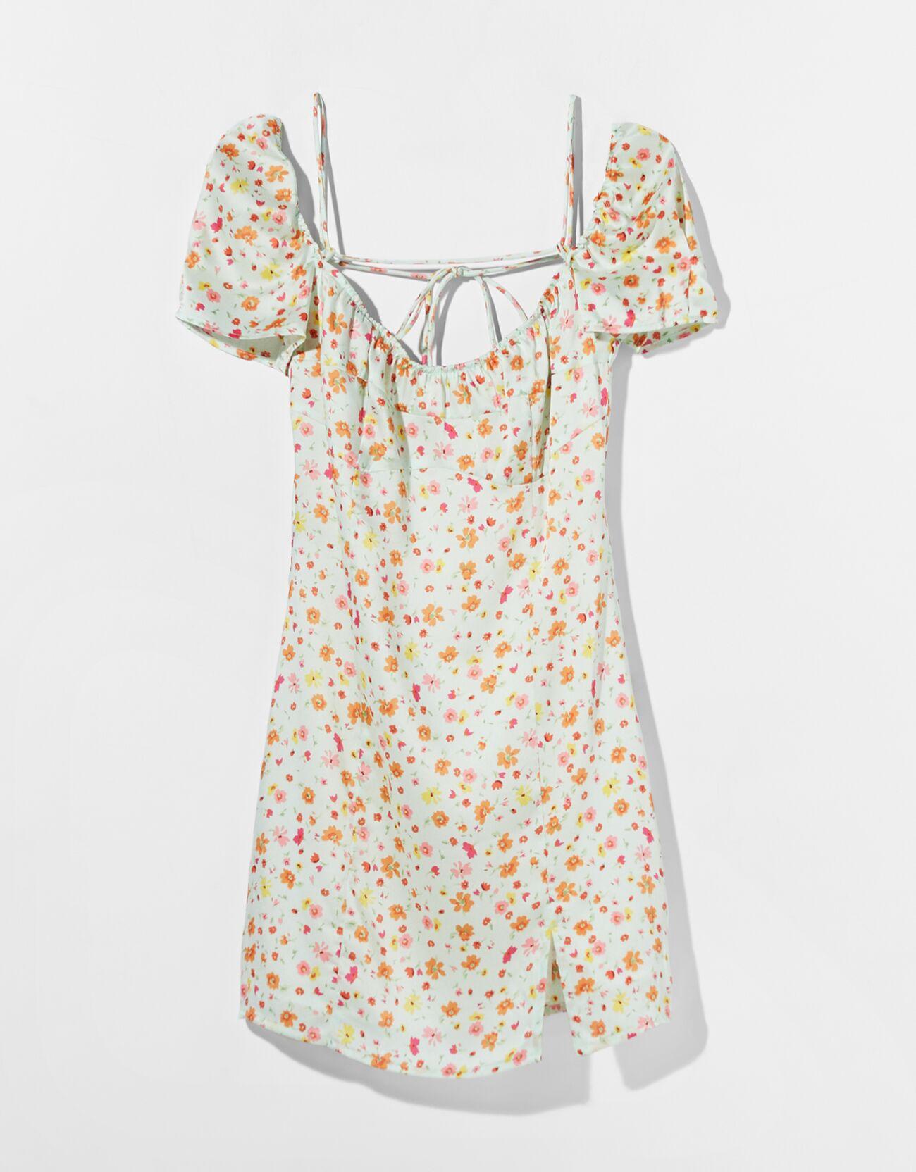 Vestido mini satinado print flores.