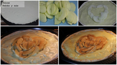 tarta corazon de manzanas pasos