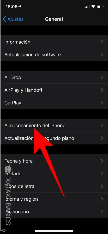 Almacenamiento Del Iphone