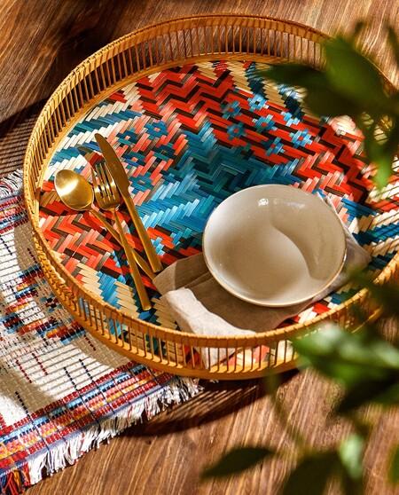 Bandeja De Bambu Redonda Y Con Trenzado Multicolor