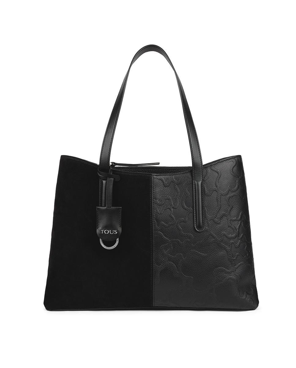 Bolso de hombro Tous Icon de piel combinada en negro