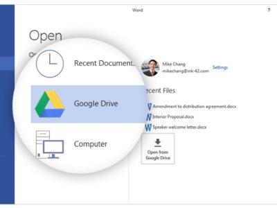Ahora puedes abrir archivos de Google Drive desde Office gracias a este plug-in oficial