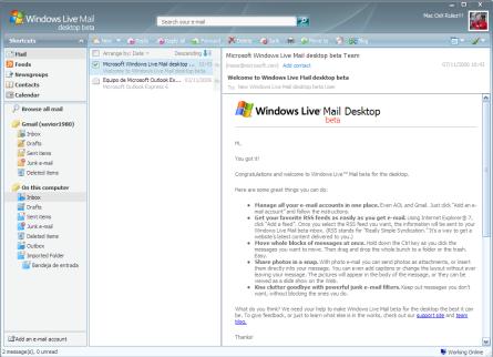 Probando Windows Live Mail Desktop beta
