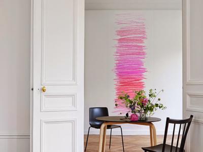 Paredes que parecen pintadas con lápices de colores
