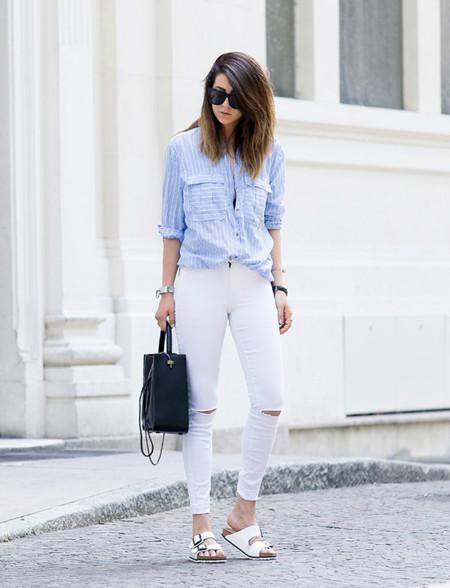 Camisa Azul Rayas Tendencia Verano 2015 2