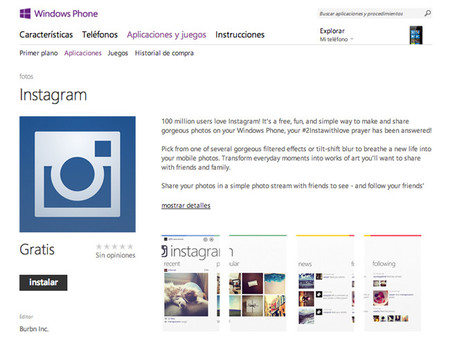 El engaño de la aparición de Instagram para Windows Phone