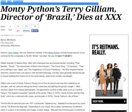 Noticia de la muerte de Terry Gilliam