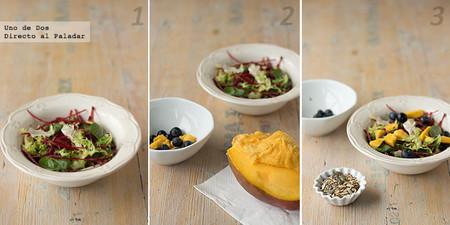 Ensalada ligera de mango y arándanos. Receta paso a paso