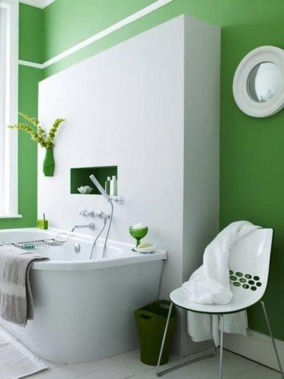 El verde en un baño.