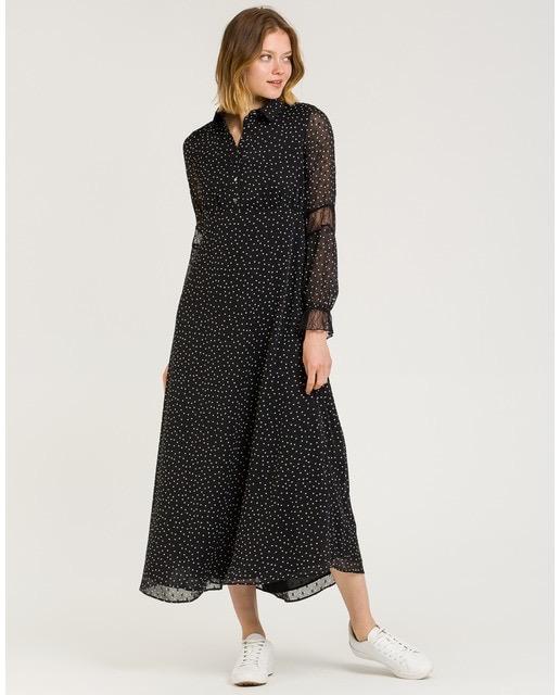 Vestido midi de tejido de topos con detalles de encaje