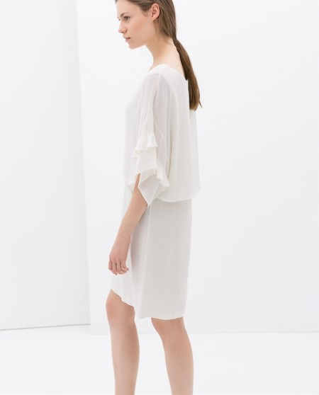 vestido blanco de gasa zara